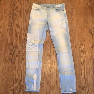 BLANKNYC mixed media distress skinny bleach jeans